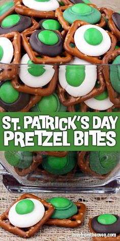 These green pretzel bites are perfect for a St. Patrick's Day treat! Super quick and easy to make, great sweet and salty combo. #stpatricksday #green #dessert #pretzels #chocolate #lftorecipes