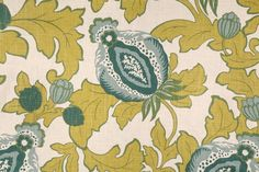 Floral/Vine Prints :: Richloom Elisha Printed Linen Blend Drapery Fabric in Lagoon