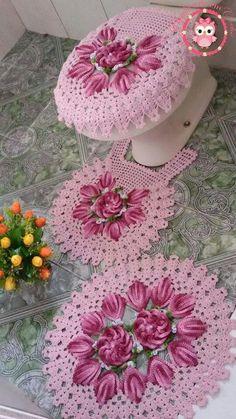 Jogo de banheiro | croche | com flores