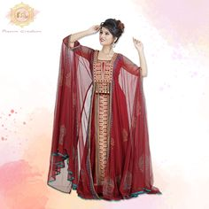 Intimate weddings or grand celebrations, this stunning Kaftan set is just what you need! 😊  The intricate thread work makes this outfit stand out from the rest.  Product no: 8066 Half Sleeve Dresses, Half Sleeves, Kaftan Abaya, Red Party, Thread Work, Intimate Weddings, Dark Red, Party Wear, Color Mixing