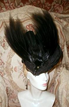 916543df415 Antique Edwardian BLACK BIRD OF PARADISE HAT w Head,Sweeping PLUMES,Silk  GOTHIC #