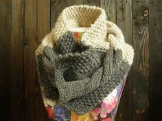 Chunky Knit Scarf Cable Knit Cowl Gray Hand Knit by OttersGrove