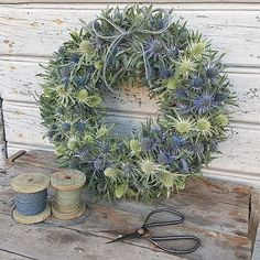 Höstkrans av Eryngium. #humleboinredning#humlebo#inredning#trädgård#garden#krans#blomsterkrans#höstkrans#dörrkrans#wreath#fiori#fioribilden#fiorikransen#lantligt#naturlovers#dekoration#höstinspiration#decoration#butikpålandet#uppsala#almunge#höstdekoration#eryngium#