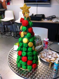 Christmassy macaroon tower