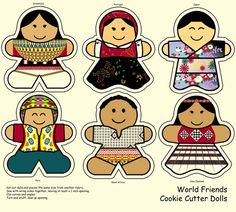 Cut-out dolls - there is a doll to represent each continent (besides Antarctica). They are wearing traditional dress from Greenland, Portugal, Japan, Peru, Western Africa and New Zealand