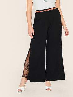 Shein Plus Eyelash Lace Insert Split Palazzo Pants Autumn Fashion Casual, Summer Fashion Outfits, Winter Fashion, Type Of Pants, Plus Size Pants, Loose Pants, Lace Insert, Spandex Material, Palazzo Pants