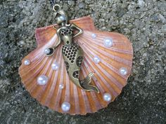 Natural Shell Pendant with Antique Bronze by GrannysInspirations, $24.99
