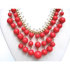 Faux Red Coral Crystal Bib Necklace, Box Chain, Vintage ($25) ❤ liked on Polyvore featuring jewelry, necklaces, vintage crystal necklace, red coral necklace, vintage jewelry, orange bib necklace and bib necklace