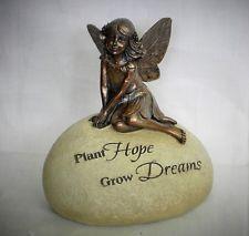 "BRONZE FAIRY Sitting on  GARDEN STONE statue ""Plant Hope Grow Dreams""  Resin"