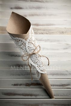 Eco paper cones with large paper lace doilies                                                                                                                                                      More