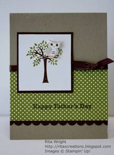 """Animal Card # 73 - Tree/ Owl/ Father's Day. Pictured Card Size 4"""" x 6"""". Stampin' Up - Forest Friend Stamp Set"""