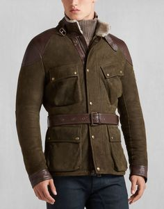 The Circuitmaster Shearling Jacket from the Belstaff Autumn/Winter 2016 Collection represents refined detail with its brown leather trim/accents and waist belt, while not sacrificing in form, function and versatility. At a hefty price of $1700+ US, be sure that you're getting the best. Be sure it's a Belstaff.