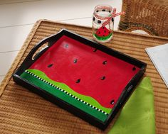 Make It Monday: Watermelon Tray Summer Diy, Summer Crafts, Watermelon Decor, Painted Trays, Decoupage Vintage, Country Paintings, Painting On Wood, Craft Projects, Creations
