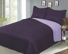 Reversible Solid Color Mini Quilt Sets, Twin, Plum/Lilac