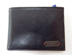 TOMMY HILFIGER Men Black Leather Passcase Bifold  Wallet  Originally $48 #TommyHilfiger #PasscaseBilfold