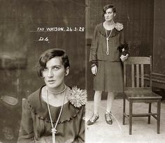 """""""Lady Mugshots."""" This woman was arrested in 1928 for being in possession of cocaine. I hate the sin but I love the sinner. Look how great her steeze is!"""