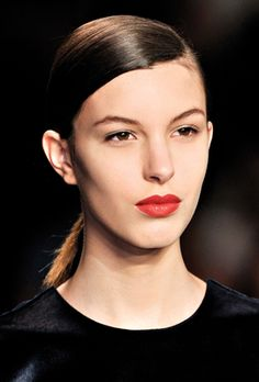 Model, runway beauty, red lips, Marc by Marc Jacobs