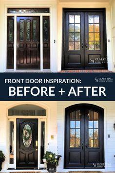 Iron Front Door, Double Front Doors, Exterior Front Doors, House Front Door, Iron Doors, Double Doors Entryway, Front French Doors, Front Porch, Replacing Front Door