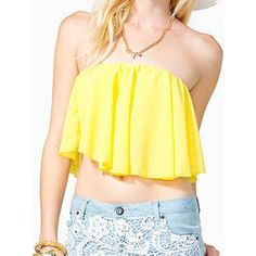 WithChic Yellow Asymmetric Strapless Elatisc Cuff Ruched Crop Top ($14) ❤ liked on Polyvore featuring tops, crop top, gathered top, ruched top, strapless crop top and rouched top