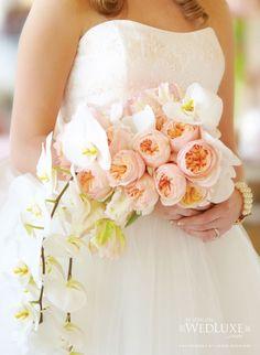 Stylish  white orhids cascading Bridal bouquet jpg