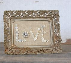 Burlap and Buttons.but I love the idea of burlap and buttons and maybe an old frame. Burlap Projects, Burlap Crafts, Crafty Projects, Diy Projects To Try, Crafts To Make, Fun Crafts, Button Art, Button Crafts, Red Button