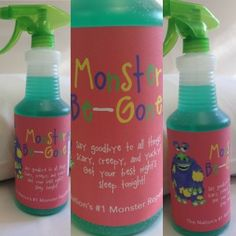 FREE Monster-Be-Gone Printable! Spray around the room and under the bed so your child will have a peaceful night's sleep. School Projects, Craft Projects, Craft Ideas, Monster Spray, Fun Crafts, Crafts For Kids, T Mo, Hot Sauce Bottles, Cool Gifts