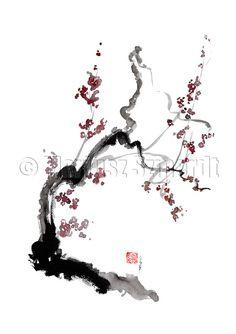 CHERRY Blossom Sakura Pink Cream Flowers Bloom GICLEE by Szmerdt, $35.00