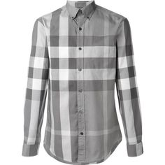 Burberry Brit checked shirt ($285) ❤ liked on Polyvore featuring men's fashion, men's clothing, men's shirts, men's casual shirts, grey, mens grey shirt, mens print shirts, burberry mens shirts, mens checkered shirts and mens patterned shirts