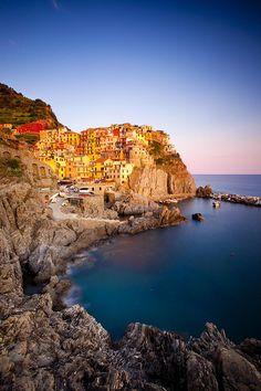 The medieval village of Manarola in Cinque Terre, Italy