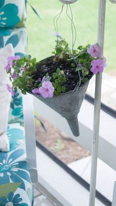 Turn A Funnel Into A Plant Holder ~ White Lace Cottage