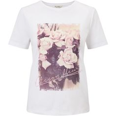 Miss Selfridge Maison Fleur T-Shirt, White (200 SEK) ❤ liked on Polyvore featuring tops, t-shirts, graphic design t shirts, floral t shirt, destroyed t shirt, white graphic tees and white shirt