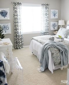 See design and decor ideas to refresh a cozy guest room and add style to make yo. See design and decor ideas to refresh a cozy guest room and add style to make your guests feel welcome and comfortable even if they are far from home! Decoracion Habitacion Ideas, Cozy Bedroom, Bedroom Decor, Bedroom Retreat, Bedroom Curtains, Pretty Bedroom, White Bedroom, Bedroom Wall, Bedroom Neutral