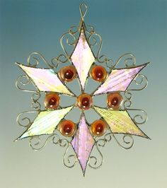 Gold Jeweled Stained Glass Filigree Snowflake by TheGlassCottage, $15.00