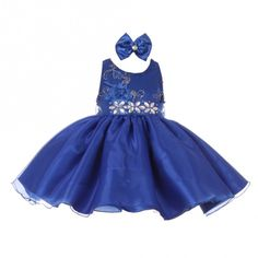 c378991df26 Baby Girls Royal Blue Floral Sleeveless Sparkle Special Occasion Dress 6-24M