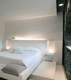 Architecture, Alluring Zash Country Boutique Hotel Called Sicily Featuring Modern Interior Design In Bedroom Featuring Stone Wall And Table Lamp Plus White Master Bed: Chic Eclectic Home Decor with Original Design and Modern Furniture White Bedroom, Modern Bedroom, Bedroom Decor, Calm Bedroom, Bedroom Ideas, Master Bedroom, Country Boutique, Interior Minimalista, Design Hotel
