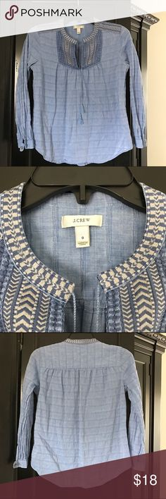 Jcrew chambray top with embroidery accents Cute little too perfect to pair with black skinnies for spring. In Very good used condition J. Crew Tops Blouses