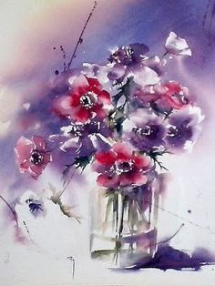 Cantate, Page Catherine Rey, Painters in watercolour, Artists Watercolor Artists, Abstract Watercolor, Watercolour Painting, Painting & Drawing, Watercolor Wallpaper, Watercolors, Abstract Flowers, Watercolor Flowers, Floral Artwork