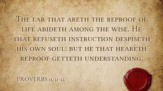 Daily Bible Verse Proverbs 15:31-32