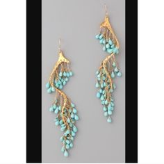 Beautiful, gold and turquoise, Alexis bittar earrings