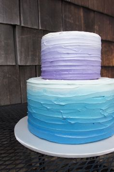 Blue and purple ombre texture birthday cake