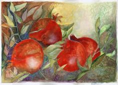 """Red Pomegranate"""" watercolor Pomegranate, Watercolor, Red, Painting, Pen And Wash, Grenada, Watercolour, Watercolor Painting, Paintings"""