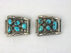 Vintage sterling silver & turquoise watch tips links signed Hopi Dick Mike Yazzie.