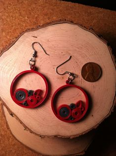 Red Navy Circle Quilled Earrings.
