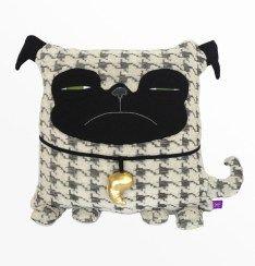 Velvet Moustache Pug Pillow