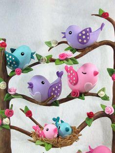 Pajaritos Polymer Clay Animals, Cute Polymer Clay, Fimo Clay, Polymer Clay Crafts, Diy And Crafts, Crafts For Kids, Arts And Crafts, Clay Magnets, Cold Porcelain