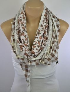 Plaid Scarf, Floral Scarf - Cotton Scarf, Brown Flower Scarf, Cowl with Lace Edge - Lifepartner