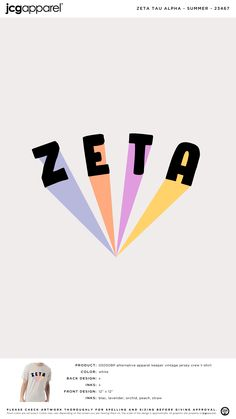 Zeta Tau Alpha Summer Shirt   Sorority Summer   Greek Summer #zetataualpha #zeta #zta #summer #rainbow #bold #letters Sorority Canvas, Sorority Paddles, Sorority Sisters, Sorority Crafts, Zeta Tau Alpha, Delta Gamma, Theta, Kappa, Sorority Recruitment Shirts