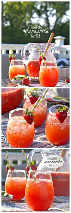 Nadire Atas on Refreshing Cocktails Strawberry Margarita Punch! SO EASY and delicious. Make this for every BBQ! - The Cookie Rookie by susie Punch Margarita, Margarita Party, Virgin Margarita, Tequila Punch, Tequila Mixed Drinks, Easy Mixed Drinks, Mango Margarita, Margarita Cocktail, Refreshing Drinks