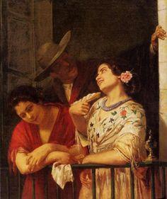 Мэри Кэссет. Флирт. Балкон в Севилье. 1872 Художественный музей Филадельфии