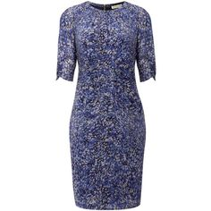Whistles Multi petal print dress ($220) ❤ liked on Polyvore featuring dresses, kate middleton, robes, women, blue silk dress, print dress, silk dress, whistles dress and blue print dress